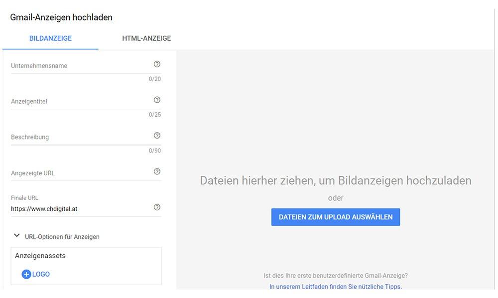 Gmail Anzeige hochladen