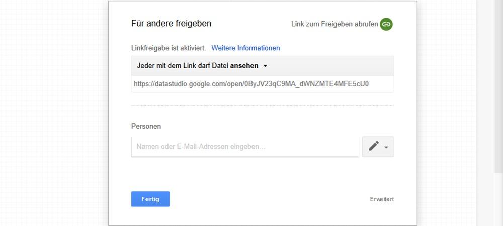 Google Data Studio Bericht Freigabe