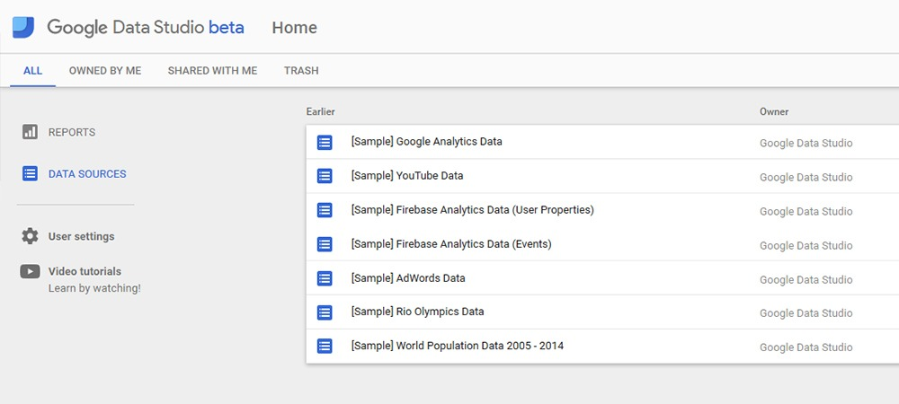 Google Data Studio Datenquellen