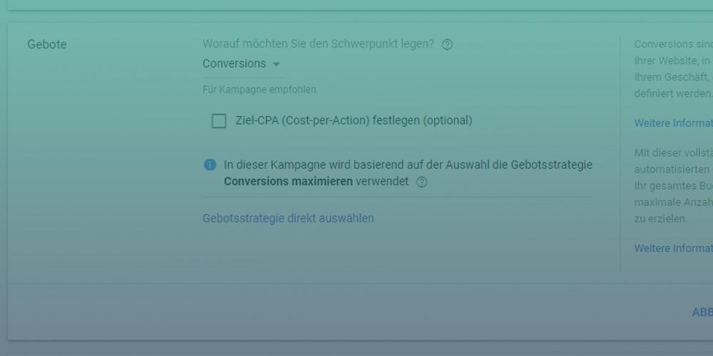 Neue Gebotsstrategie in Google AdWords: Conversions maximieren