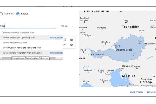 AdWords Standorte hinzufügen