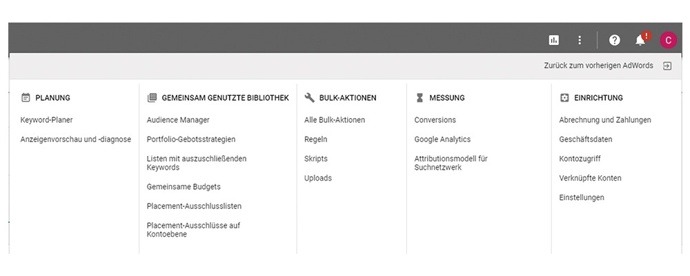 AdWords Top Navigation