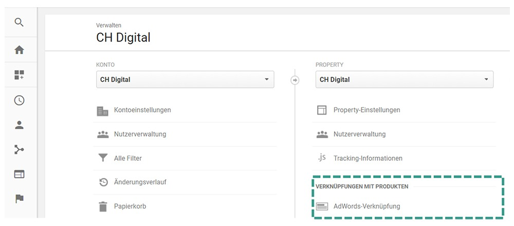 AdWords Analytics Verknüpfung