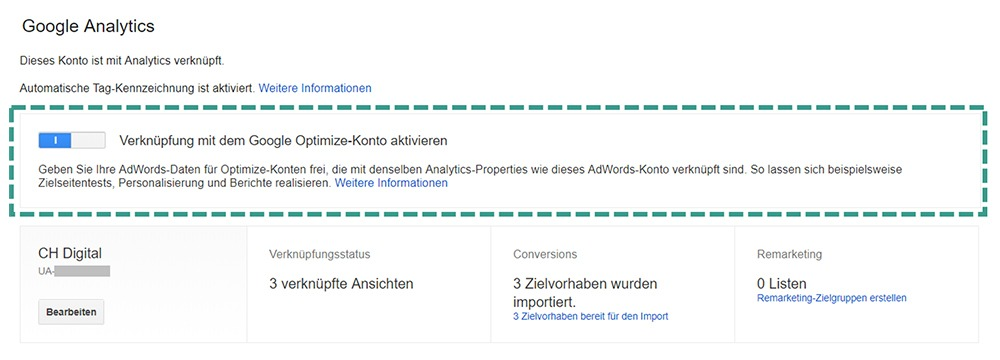 Google Optimize AdWords Verknüpfung