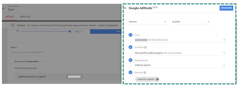 Google Optimize AdWords Ausrichtung