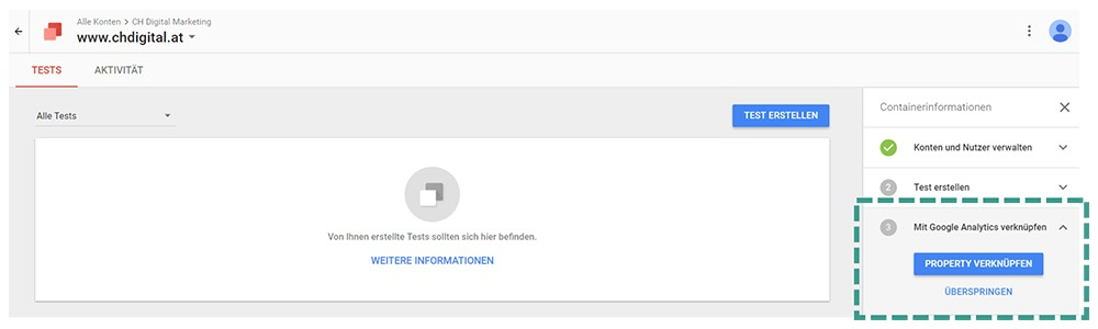 Google Optimize Analytics Verknüpfung