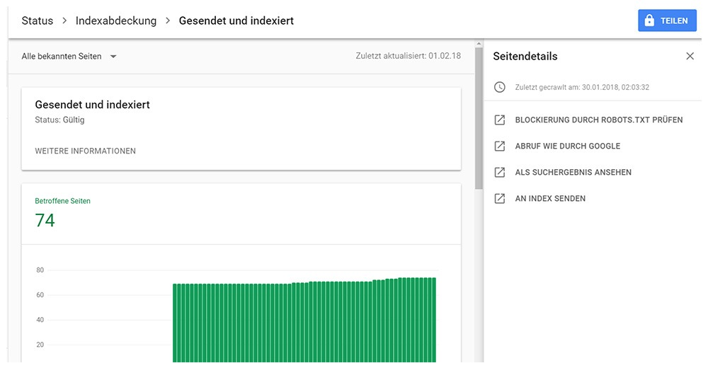 Google Search Console indexierte Seiten