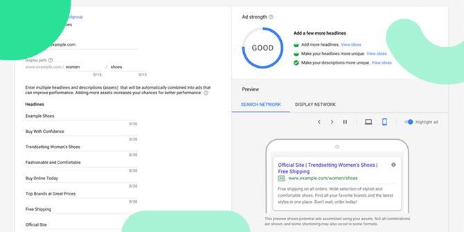 Google Ads responsive Suchnetzwerk Anzeigen