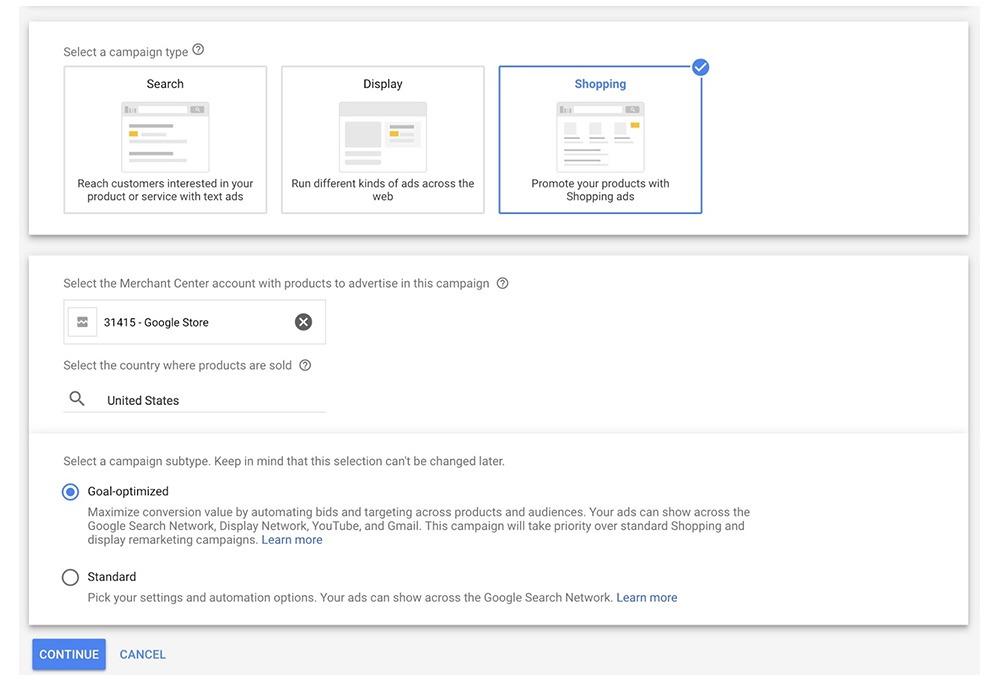 Zielvorhabenoptimierte Google Shopping Kampagnen erstellen