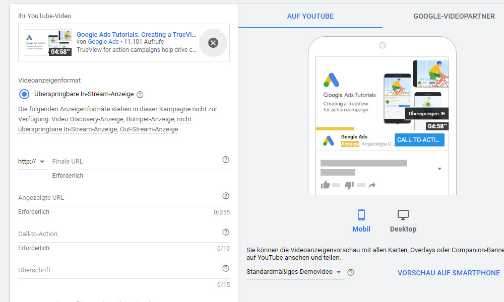 Google Ads TrueView for Action Kampagne