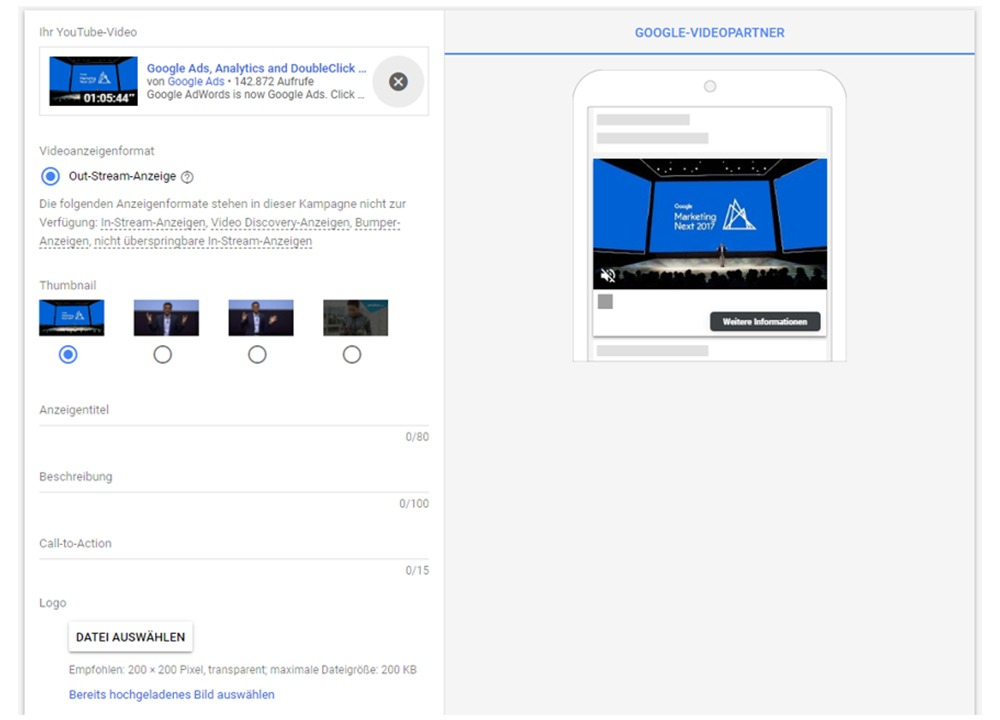 Google Ads Outstream Videoanzeigen erstellen