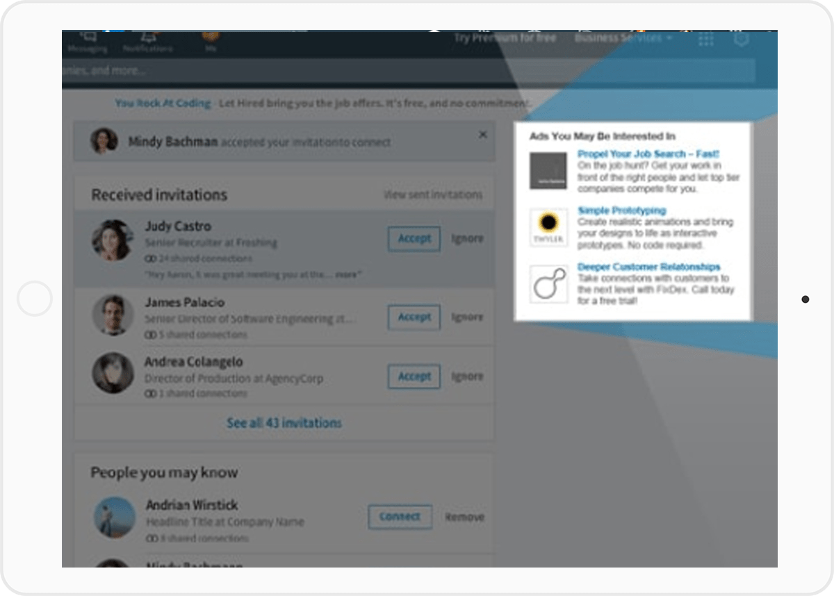 LinkedIn Anzeige Tablet