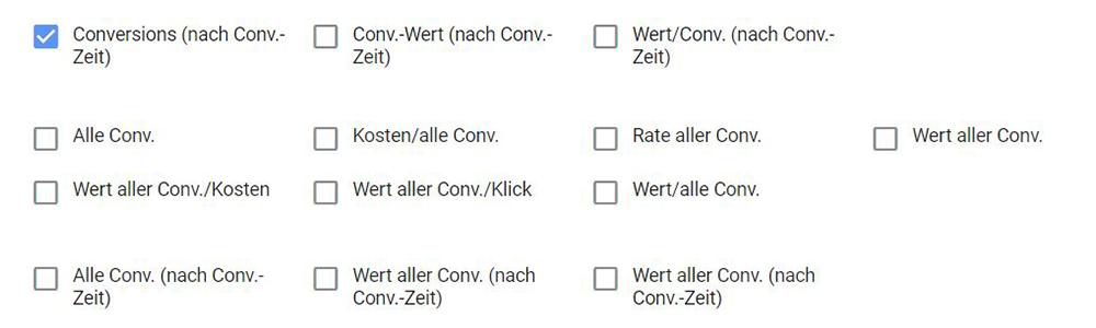 Google Ads Conversion Zeiträume Auswahl