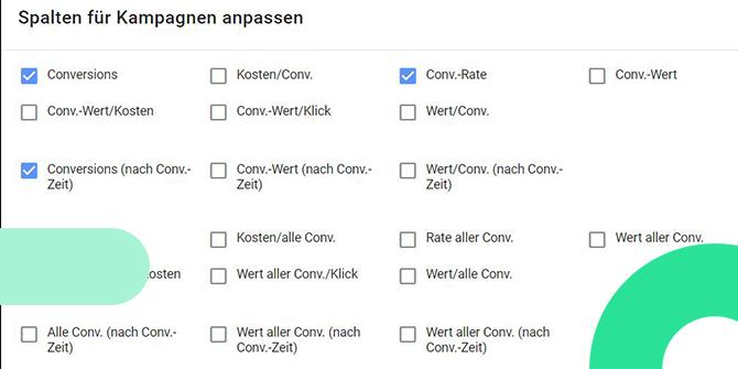 Google Ads Conversion Zeiträume Spalten