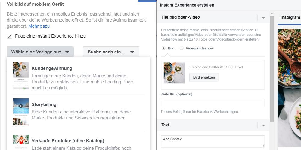 Facebook Instant Experience Vorlage