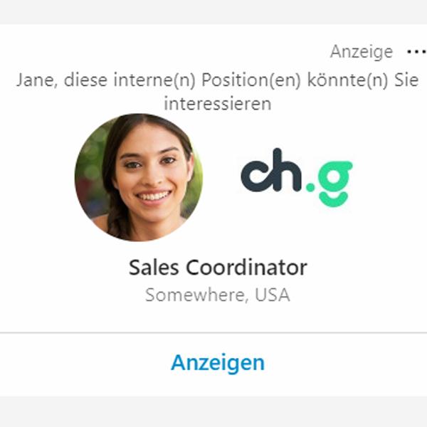 LinkedIn Ads Stellenanzeige Beispiel