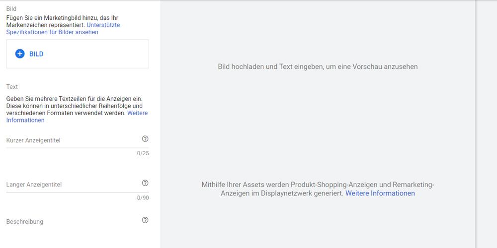 Google Smart Shopping Kampagnen Assets